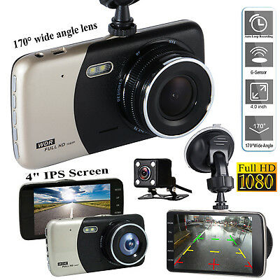 "4"" Dual Lens Camera HD 1080P 170° Car DVR Video Dash Cam Front Rear Recorder"