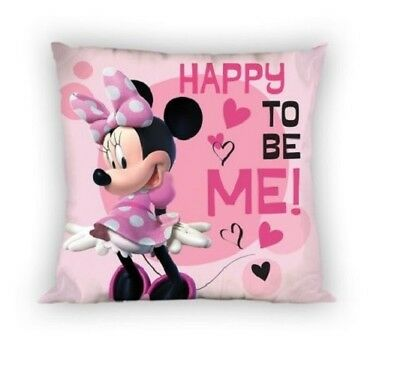 NEW Disney MINNIE Mouse Happy to be me! pink cushion cover 40x40cm 100% COTTON