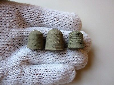 Lot of 3 ancient late Roman ~ Byzantine period bronze thimbles 6-10 A.D.