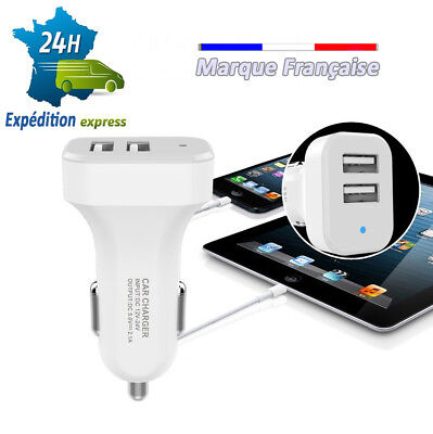 chargeur tel auto 12v smartphone usb allume cigare double cable iphone samsung..