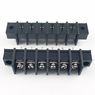 5Pcs Black 9.5mm Pitch 6 Pin Barrier Terminal Block Connector With Screw Hole