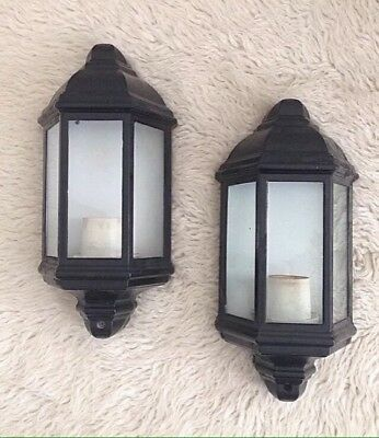 Pair Of Vintage 1970s Metal & Glass Black Half Lantern Outside Wall Light