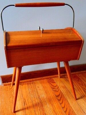 """Art Deco Sewing Chest vintage antique Solid wood 17""""x12""""x25"""" Clean FREE SHIPPING"""