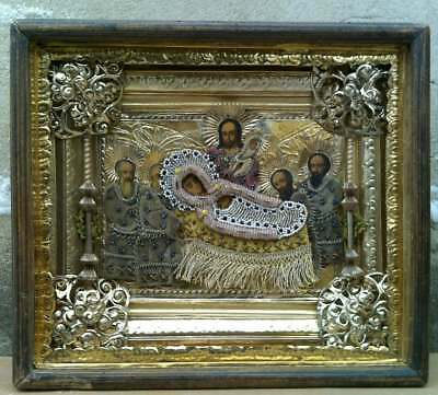 """Antique 19c Russian Hand Painted Wood Icon """"The Assumption of the Virgin"""""""