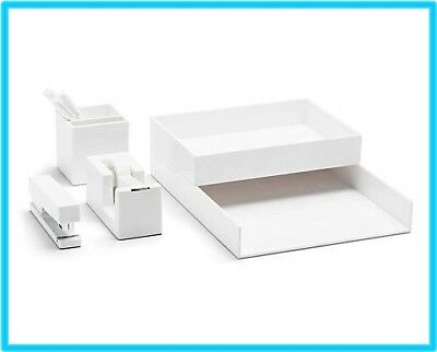 WHITE  Poppin All Set 12-Piece Desk Collection Dorm Office Home Organizer