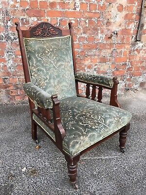 Upholstered Late Victorian Antique Mahogany Salon Chair - Armchair For Project