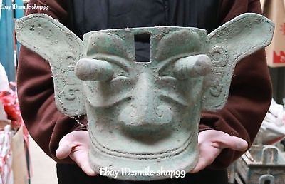 Antique China Bronze Ware Ancient Sanxingdui People Man Head Vizard Mask Statue