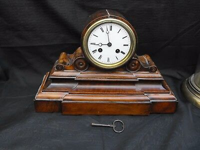 Old Drum Head French Brass Movement Antique Walnut Wood Clock From A Collection