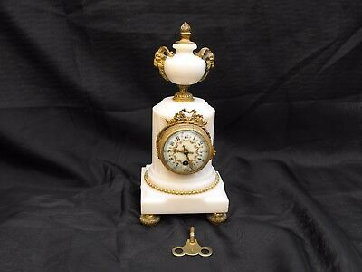 BEAUTIFUL OLD ANTIQUE 19thC MARBLE & GILT RAMS HEAD FRENCH MANTLE BOUDOIR CLOCK