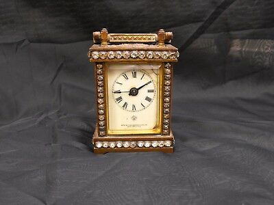 Pretty Old Vintage Antique Ansonia Repousse Brass & Jewelled Carriage Clock