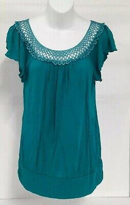 39a644f0bb327 Robin's Nest Maternity Top Size M Blue Crochet Flutter Sleeve Ruched