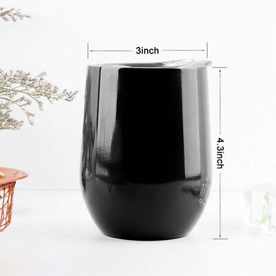 (350ml, Black) - 350ml Insulated Stemless Tumbler, Double Wall Vacuum