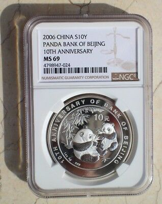 NGC MS69 China 2006 Silver 1 Oz Panda Coin - 10th Anniversary of Bank of Beijing