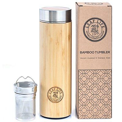 Bamboo Tumbler W/ Tea Infuser Strainer 17Oz Stainless Steel Water Coffee Bottle