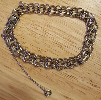 7.5 Inch Elco Double Link Bracelet w/2.5 Inch Extension, 925, Sterling Silver
