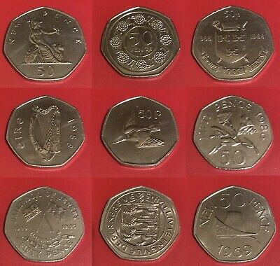 1969 to 1997 LARGE OLD STYLE, IOM, Jersey, Gibraltar... 50p Fifty Pence Coins