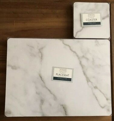 Marble Effect Cork Backed Grey Placemats & Coaster 8 Piece Set