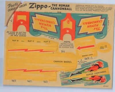 Post Cereal Rare Cut Out Zippo The Human Cannonball Cereal Give Away 1947