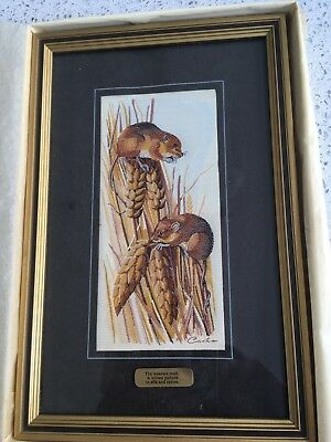 CASH's OF COVENTRY HARVEST MICE WOVEN SILK PICTURE--FRAMED