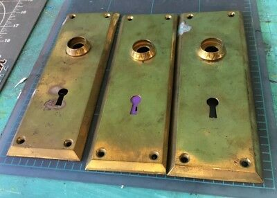 Vtg Lightly Aged Heavy Brass  Door Knob Back Plates 1909