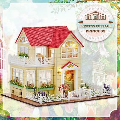Wooden Doll House Miniature Furniture Pricness Huttoys Children Birthday Gift