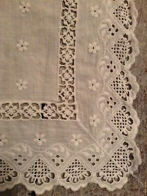 Vintage Cotton Embroidery Anglais Table Runner