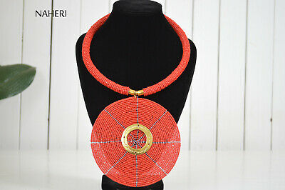 African red pendant necklace with brass. Tribal fashion jewelry. Gift for Her