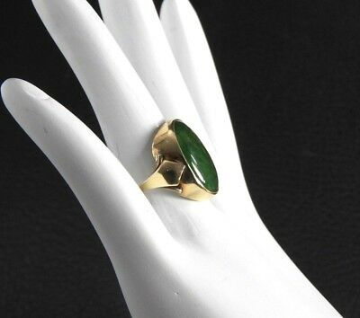 Vintage Art Deco Nephrite Jade Cocktail Ring 10K Yellow Gold Antique 6.5