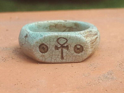 AUTH ANCIENT Egypt Faience Ankh Egyptian Cross Amulet eternal life Symbol Ring
