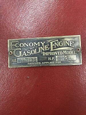 Sparta Economy Antique Hit And Miss Gas Engine Original Brass Nameplate