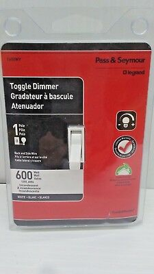 Pass Seymour Toggle Dimmer T600WV 600W 1 Pole WHITE Incandescent FREE SHIPPING