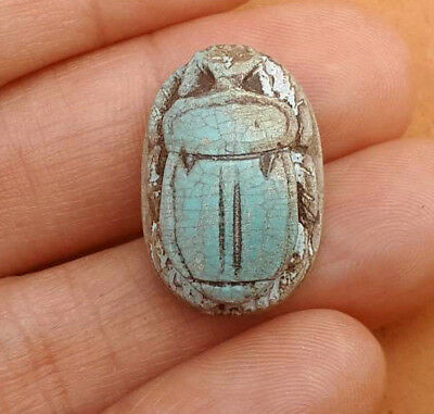 AUTH ANCIENT Egypt Faience Seal Scarab Hieroglyphics Pharaoh Engraved Amulet