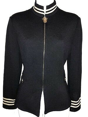 St John Collection Marie Gray Santana Knit Black & Gold Zip Front Blazer ~Sz 4