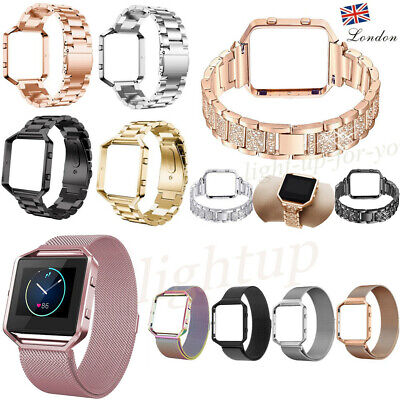 For Fitbit Blaze Strap +Frame Bling Crystal /Milanese Loop Band Stainless Steel