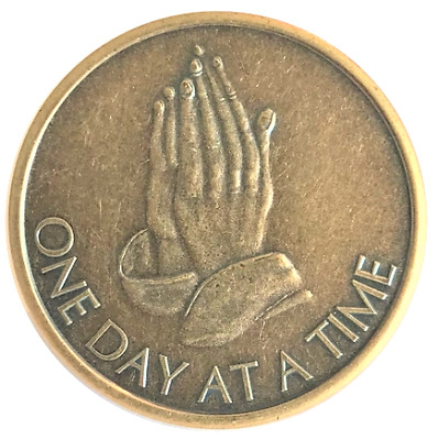 Praying Hands Antique Bronze AA coin recovery token medallion chip