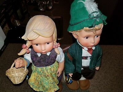 "2 Dolls M.J Hummel Gobel 12"" Boy and Girl With Tags on Arms"