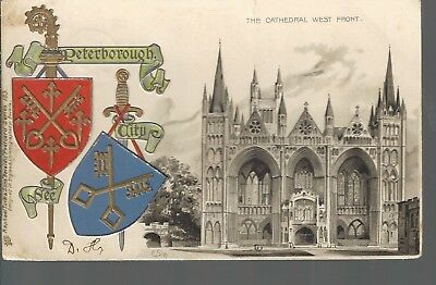Peterborough City Coat of Arms Cathedral West Front undivided back embossed 1905