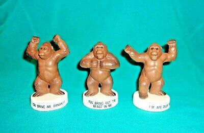 "Vintage 3 Piece Set Of 4"" Gorilla Figurines With Original Labels  Made In Japan"