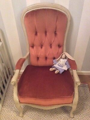Victorian Button Back Pink Armchair Chair Nursery chair Antique