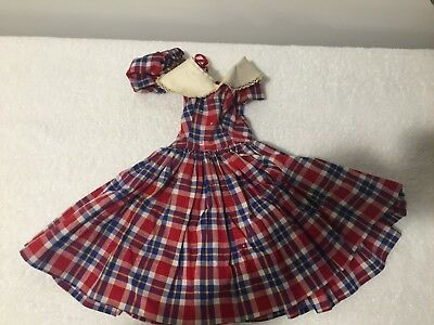 Madame Alexander Cissy Doll Dress Plaid Print Purse Tagged Red Blue Yellow