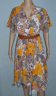 M&S Vintage 80s Floral Dress & Belt Fit Size 16 Linen Blend Short Sleeve Summer