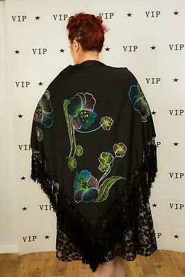 Beautiful vintage hand painted Piano shawl multi coloured orchid flower wrap