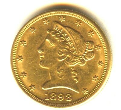 1898 S Liberty Head Half Eagle $5 MS Gold Type Coin San Francisco Better Date