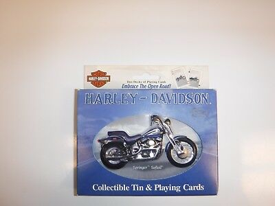 Harley Davidson Springer Softail Collectible Tin And 2 Decks Of Playing Cards