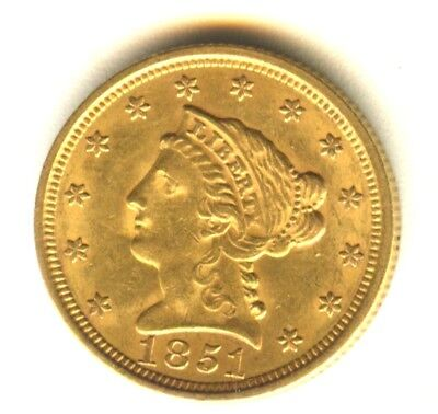1851 Liberty Quarter Eagle MS $2.50 Gold Scarce 100% Original Weakly Struck Rev.