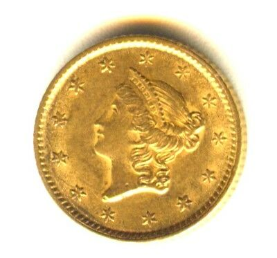 1853 $1 Gold Type 3 MS In Grade 100% Orig. Early Gold Type Coin Scarce