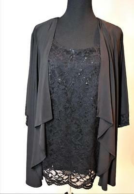 NEW CATHERINES MOTHER OF BRIDE BLACK 2pc JACKET SEQUIN BLOUSE TOP PLUS 22P 26W