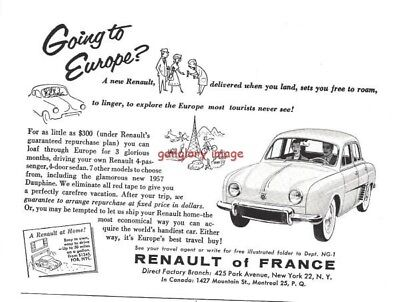 1957 Renault Of France Vintage Auto Print Ad Loaf Through Europe For 3 Months s