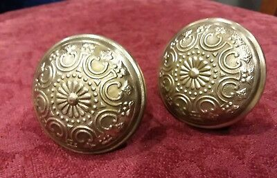 2 Vintage Victorian Ornate FLOWERED Brass finish,  Door Knobs Set Handles