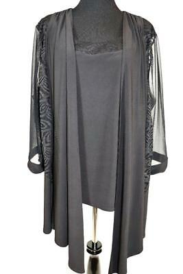 NEW CATHERINES MOTHER OF BRIDE BLACK 2pc JACKET SPARKLE BLOUSE TOP PLUS 24